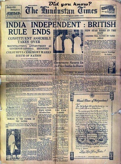 Rare photograph of Hindustan Times Newspaper when India got its Independence from the British.