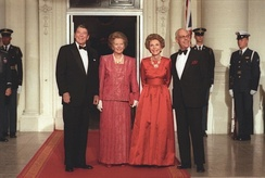 Margaret Thatcher (second left), Ronald Reagan (far left) and their respective spouses in 1988. Thatcher and Reagan developed a close relationship against the Soviet Union.