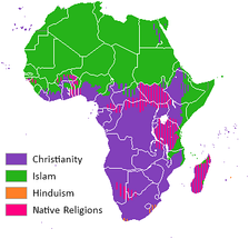 A map showing religious distribution in Africa