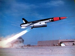 Regulus II test launch in 1957. The swept-forward Ferri-style intake can be seen.