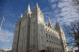 The Salt Lake Temple of the Church of Jesus Christ, the primary attraction in the city's Temple Square