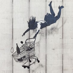 Shop Until You Drop by Banksy, in London.