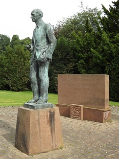 Statue of Douglas-Home at The Hirsel by sculptor Professor Bill Scott, unveiled in 1998.[189]