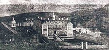 Stowe House, Kilkhampton, drawn by Edmund Prideaux (1693-1745) of Prideaux Place, Cornwall.[1] Collection of Peter Prideaux-Brune of Prideaux Place, Cornwall. This picture in 1903 was in the possession of Mrs. Waddon Martyn, at Tonacombe Manor[2]