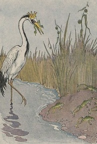 A frog being eaten by King Stork, an illustration by Milo Winter in a 1919 Aesop anthology