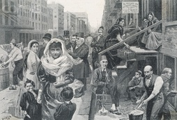 """The Foreign element in New York, the Syrian colony, Washington Street."" Drawn by W. Bengough"
