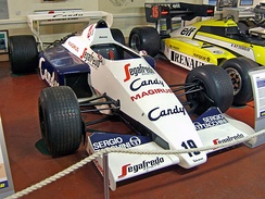 Senna's Toleman TG184 from 1984 on display in the Donington Grand Prix Collection.