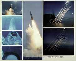Montage of an inert test of a United States Trident SLBM (submarine launched ballistic missile), from submerged to the terminal, or re-entry phase, of the multiple independently targetable reentry vehicles