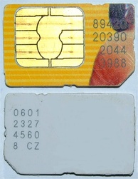 Typical mobile phone mini-SIM card