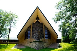 The Unitarian Meeting House designed by Frank Lloyd Wright, Shorewood Hills, Wisconsin.