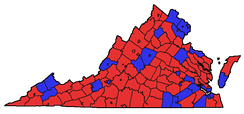 2006 Senatorial election majority results by county, with George Allen in red and Jim Webb in blue.