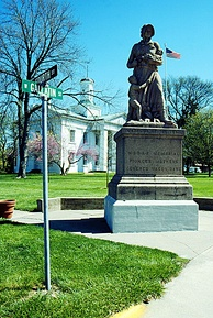 The Old State House in Vandalia, and its Madonna of the Trail sculpture, marks the western terminus of the National Road, a precursor to US 40.
