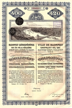 Bond of the City of Budapest, issued 1. Mai 1911