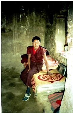 Young monk in meditation retreat, Yerpa, Tibet in 1993