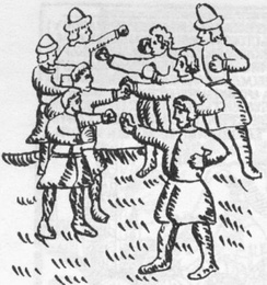"A lubok depiction of the ""Wall against Wall"" (Stenka na Stenku) fist fighting."