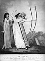 Two English girls practice archery, 1799