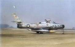 Republic F-84F-45-RE Thunderstreak, Serial 52-6703 of the 55th Fighter-Bomber Squadron. This aircraft was retired from USAF service in 1955 and sold to the new West German Air Force.  Later, this aircraft served in the Greek Air Force.