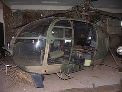 Rhodesian Aérospatiale Alouette III helicopter modified with fixed side-firing machine guns