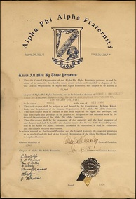 The 1906 charter for ΑΦΑ's Alpha chapter at Cornell University