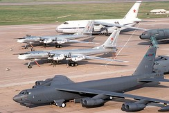 B-52s and Tu-95s together on the tarmac at Barksdale during the May 1992 Russian visit
