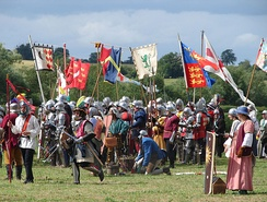 Re-enactments of English medieval events, such as the battle of Tewkesbury shown here, form part of the modern heritage industry