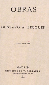 Title page of Becquer's 'Obras' (1871), First Edition