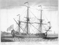 French fireship at anchorage. The full-resolution image shows details specific to fireships, notably the exit door between the two aftmost gunports; the chain securing an escape boat; an aperture below exit door to light a fuse; and grappling hooks on the yardarms.