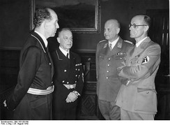 A meeting of the four jurists who imposed Nazi ideology on the legal system of Germany (left to right: Roland Freisler, Franz Schlegelberger, Otto Georg Thierack, and Curt Rothenberger)