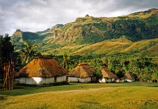Several bure (one-room Fijian houses) in the village of Navala in the Nausori Highlands.