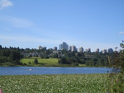 Metrotown area, seen from Burnaby's Deer Lake
