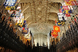 The English Gothic vaulted ceiling of St George's Chapel, Windsor Castle