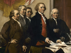 The Committee of Five present their work, June 1776, detail of John Trumbull's 1819 painting Declaration of Independence