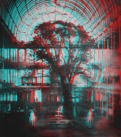Anaglyphic image made from an 1851 stereoscopic daguerreotype of the Crystal Palace