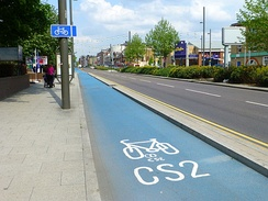Segregated cycle lanes are being implemented across London. Cycle Superhighway 2 in Stratford