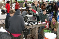 Occupy Wall Street protesters in Zuccotti Park using their laptops, September 2011