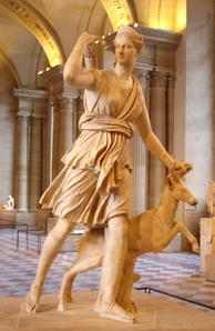 Artemis with a Hind, a Roman copy of an Ancient Greek sculpture, c. 325 BC, by Leochares