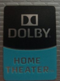 A Dolby home theater badge on a laptop