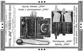 An advertisement of cameras made by a Polish company FOS (1905). Cameras, objectives and stereoscopes were exclusively made in Congress Poland.