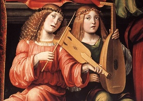 Renaissance-era lute and viol, depicted in a detail from a painting by Francesco Francia