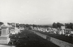 Holy Cross Cemetery shortly after the 1906 San Francisco earthquake