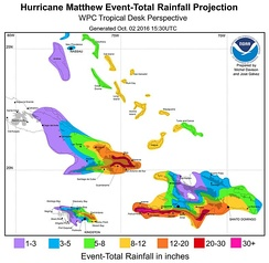 A map of forecast rainfall totals from Hurricane Matthew for the Greater Antilles and the Bahamas. Peak accumulations in excess of 76 cm (30 in) were expected along the southern coast of Haiti's Tiburon Peninsula.