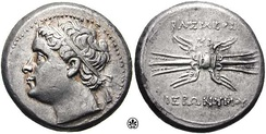 Hieronymus, King of Syracuse (215 BC), depicted on one of his coins.