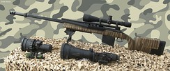 A modern sniper weapon system which consists of a sniper rifle (here Barak HTR 2000 chambered in 0.338 Lapua Magnum), telescopic sight (Leupold Mark IV x10), and additional optics.