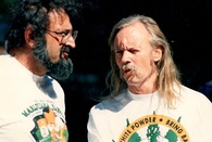 Jack Herer and Dana Beal. 1989 Great Midwest Marijuana Harvest Fest in Madison Wisconsin.jpg