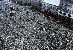 People of Zagreb celebrating liberation from Axis powers by Yugoslav Partisans on 12 May 1945