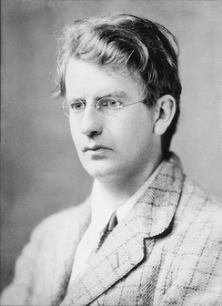Television pioneer John Logie Baird (seen here in 1917) televised the BBC's first drama, The Man with the Flower in His Mouth, on 14 July 1930, and the first live outside broadcast, The Derby, on 2 June 1931.[31][32]