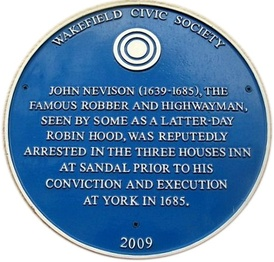 Blue plaque erected in 2009 at the Three Houses Inn, Sandal Magna, Wakefield
