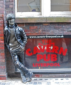 Statue of John Lennon of The Beatles at The Cavern Club, Liverpool