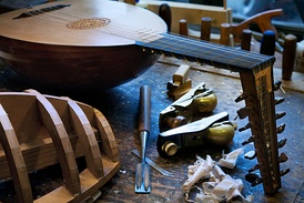 A lute being made in a workshop