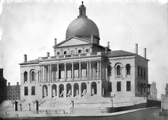 Massachusetts State House (1798, in a drawing by Alexander Jackson Davis, 1827